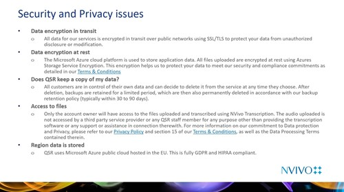 Slide showing Security and Privacy information