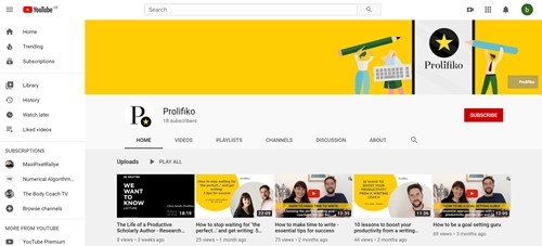 Snip of Prolifiko's YouTube page